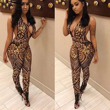 Bonnie Forest Vintage Sexy Stretch Backless Black Gold Sequins Mesh Jumpsuits Summer Skinny See Through Sequins Rompers Clubwear