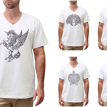 Men Animals drawing in black- white Printed Cotton V-neck T-shirt MTS_02