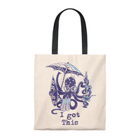 Funny Multitasker Beach Loving Octopus Tote Bag  Vintage