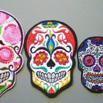 Extra Large Sugar Skull, Day of the Dead, Embroidered Iron On Patch, Biker Patch, Gothic, Applique, Mexican