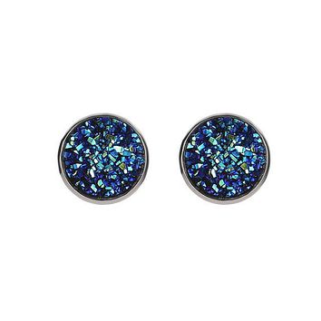Vintage Police Awareness Round Resin Stud Earrings