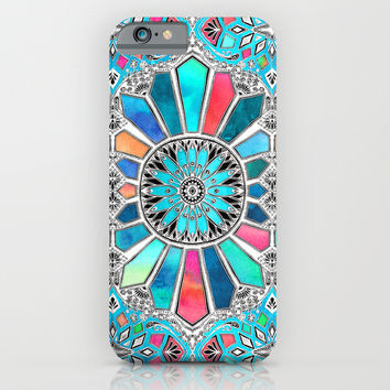 Iridescent Watercolor Brights on White iPhone & iPod Case by Micklyn