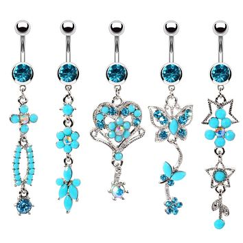 BodyJ4You 5PC Belly Button Rings 14G Hamsa Star Dremcatcher Peace Steel CZ Women Navel Piercing