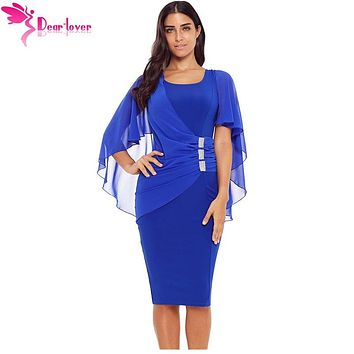 Dear Lover Women Office Dresses 2018 Autumn Blue Waist Pleats Rhinestone Detail Slim Casual Midi Sheath Dress Vestidos LC610293