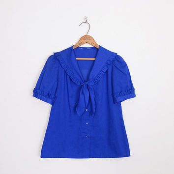 sailor blouse, sailor top sailor shirt nautical blouse ascot blouse bow-tie blouse back flap blouse blue blouse dolly blouse 80s blouse s m