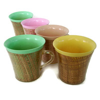 Retro Mid Century Thermo Insulated Cups Mugs Woven Rattan Pink Green Yellow Tan Set of 5