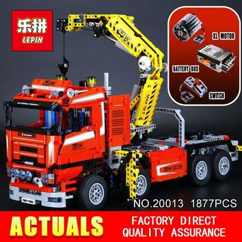 NEW LEPIN 20013 technic series 1877pcs The Electric Crane Truck Model Building blocks Bricks Compatible 8258 Gift