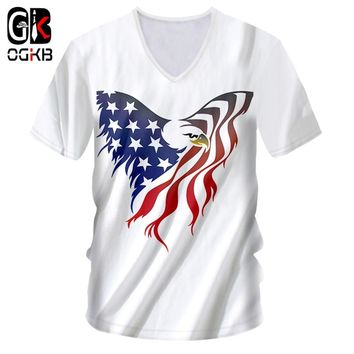 OGKB V Neck Mens T Shirts Cool Print Tshirt American Flag Eagle 3D T-shirt Homme Summer Tops Tees Jerseys 7XL Unisex Harajuku