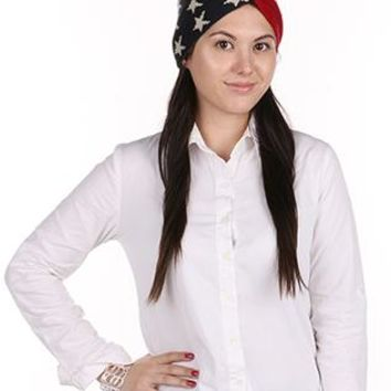 Hair Accessory Patriotic Print American Flag Head Wrap Stars And Stripes Red White And Blue