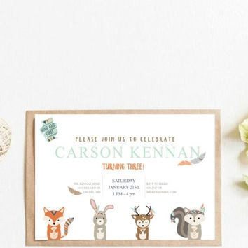 Woodland Birthday Invitation | Woodland Animals Invite | Printable invitation, 4x6