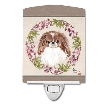 Japanese Chin Wreath of Flowers Ceramic Night Light MH1009CNL