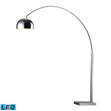 D1428-LED Penbrook LED Arc Floor Lamp In Chrome With White Marble Base