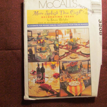 SALE Uncut McCall's Sewing Pattern, 3208! Home Decor/Kitchen Accessories/Dining Room set Up/Table Runners/Placemats