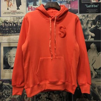 Supreme 2017 new couple Hip-Hop sup embroidered logo hooded multicolor plus cashmere sweater coat Orange