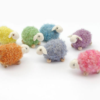 knitted sheep - waldorf toys. Amigurumi. Fairy Forest animal toys for playscape