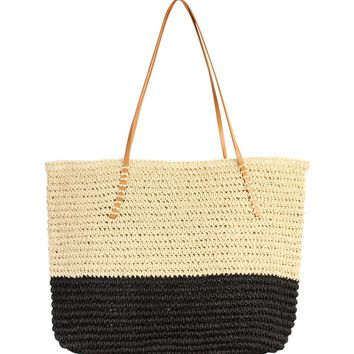 Straw Leather Strap Beach Tote