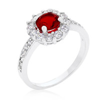 Belle Ruby Red Halo Engagement Cocktail Ring | 2.5ct | Cubic Zirconia | Silver