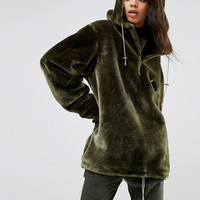 Story Of Lola Extreme Oversized Hoodie Coat In Faux Fur at asos.com