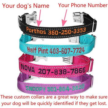 Personalized Dog ID Collar, Custom Collars Embroidered with Pet Name & Phone Number - 4 Adjustable Sizes with Secure Side-Release Buckle.