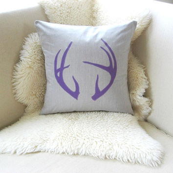 Antler Pillow Cover, Winter Woodland, Rustic Modern Deer Decor - Feather Grey & Purple Appliqué Antlers, Pick A Color, Luxe Lodge 18 x 18