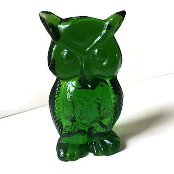 vintage Green Glass Owl Kanawha 1960s Estate find