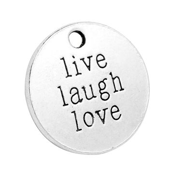 20 Pieces Live Laugh Love Inspirational MedalliCharm Findings for Pendant Necklace Making 20mm
