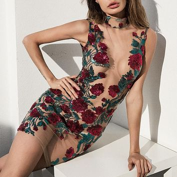 Sexy Sequin Floral Dress