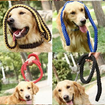 High Quality 130cm Strong Pet Dog Braided Nylon Durable Dog Leash Lead Heavy Duty Anti-slip Rope Stereotyped Rope Collar Set