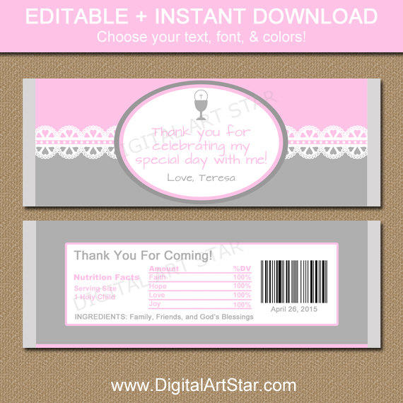 First Communion Chocolate Bar Wrappers From Digital Art Star