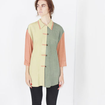 vtg 80s color block blouse pastel button down shirt oversized colorblock top slouchy fit loose fit S M L XL OS
