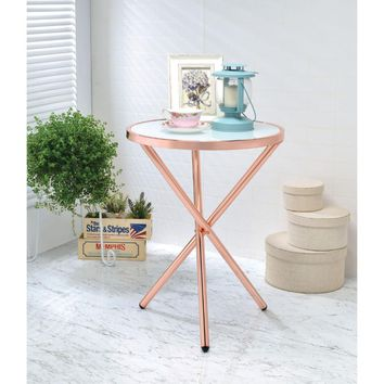 Alluring Side Table, Frosted Glass & Copper By ACME