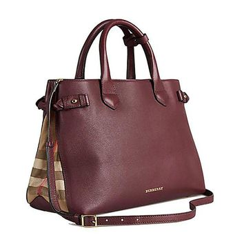 DCCKUG3 Tote Bag Handbag Authentic Burberry Medium Banner in Leather and House Check MAHOGANY RED Item 39630371