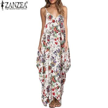 Maxi Dresses V Neck Straps Sleeveless Floral Print Beach Long Dress