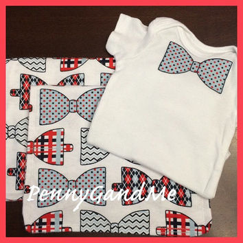 Baby Boy Gift Set ~ Bow tie Baby Gift Set ~ Two Personalized Bow tie Burp Cloths ~ Matching One-piece!