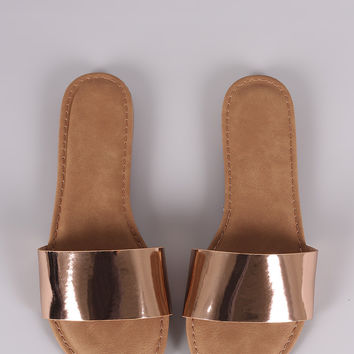 Bamboo Metallic Single Wide Band Slip-On Sandal