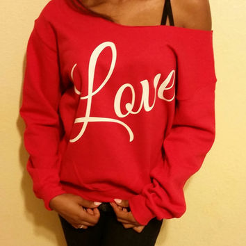 Love Inspired Oversized Off The Shoulder Sweatshirt, Love Slouchy Sweatshirt, Valentines Love Sweatshirt