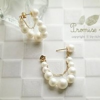 JC042 Faux Pearls Dangle Earrings, Gold Plated Chain Embellished Earrings