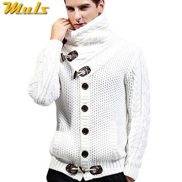 2017 Autumn Winter New Brand Men Cardigan Sweater Thicken Loose Fit Acrylic Warm Knited Male Sweatercoat White Black Muls M-3XL