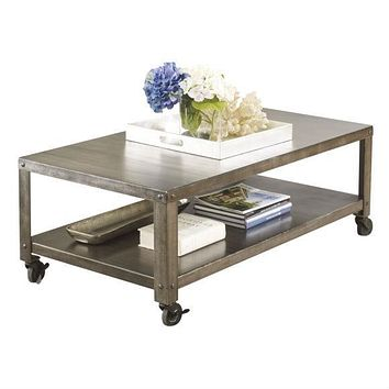 Modern Industrial Style Metal Coffee Table with Locking Caster Wheels