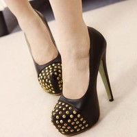 Super High Heels Womens Cool Studs Fashion Shoes Platform Stiletto Party