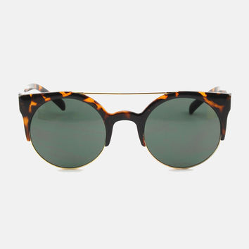 Freja Retro Rounded Sunglasses - Dark Tortoise