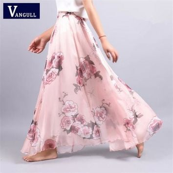 DKF4S 2017 Summer New Fashion Vintage Bohemia Chiffon Floral Printed Women Boho Floor-Length Long Maxi Beach Party Loose Flare Skirt