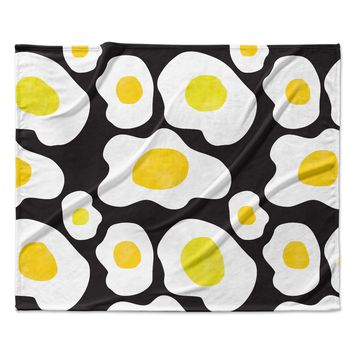 "Vasare Nar ""Fried Eggs Pattern"" Yellow Pop Art Fleece Throw Blanket"