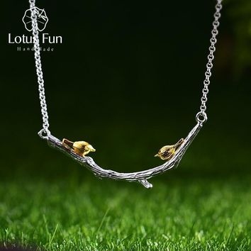Lotus Fun Real 925 Sterling Silver Natural Original Handmade Fine Jewelry Bird on Branch Necklace for Women Bijoux