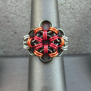 Chainmaille Jewelry, Flame Jewelry, Flame Ring, Stainless Steel Ring, Fire Ring, Chain Mail Jewelry, Chainmail Jewelry, Chain Maille Jewelry
