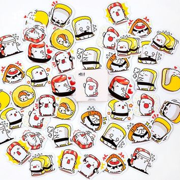 45 Sheets Cute Sushi Diary Label Stickers Decorative Mobile Stickers Scrapbooking DIY Stickers Seal Sticker