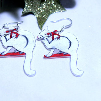 Christmas Cat on a Shelf Earrings, Christmas Cat Earrings, Cat Earrings, Stocking Stuffer Cat Earrings, White Christmas Cat With Red Bow