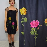 90s Sheer Dress Rose Floral Small MED Soft Grunge Goth Hipster Little Black Dress Party Mesh Cute Goth Kawaii Short Knee Length Skirt