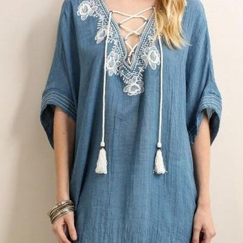 Malibu Chambray Lace Up Blouse FINAL SALE!