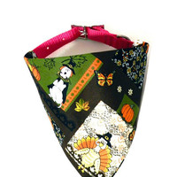 Black Harvest Fall Autumn Thanksgiving Monogrammed/Personalized Slip On Dog Puppy Over Collar Bandana Neckerchief Pet Fashion Accessory